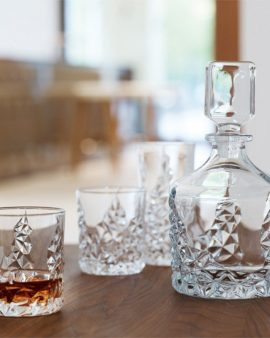 Nachtman Crystal 3 Piece Sculpture Decanter Set