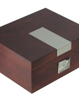 Heritage Desktop Cigar Humidor with Hygrometer and Humidifier – Capacity: 20-50 Cigars